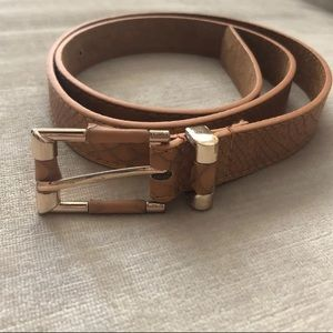 Women's Taupe Belt With Gold Trim, S/M